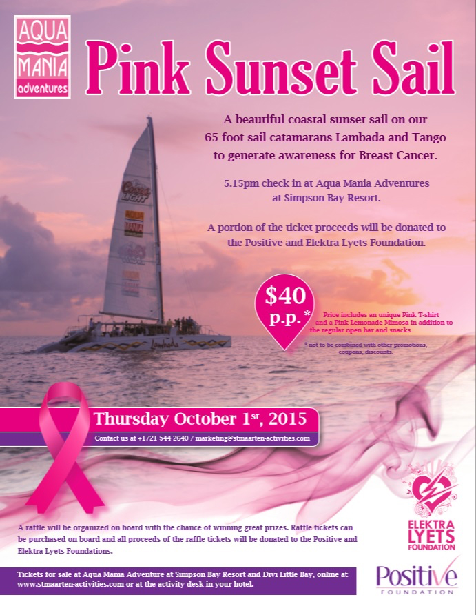 Aqua Mania Adventures organizes a Pink Sunset Sail in support of Breast Cancer with the Positive & Elektralyets Foundation