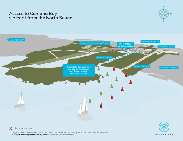 Camana Bay Harbour map