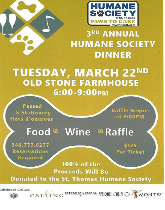 Fundraiser for the Humane Society of St. Thomas on March 22, 2016 at 6:00pm