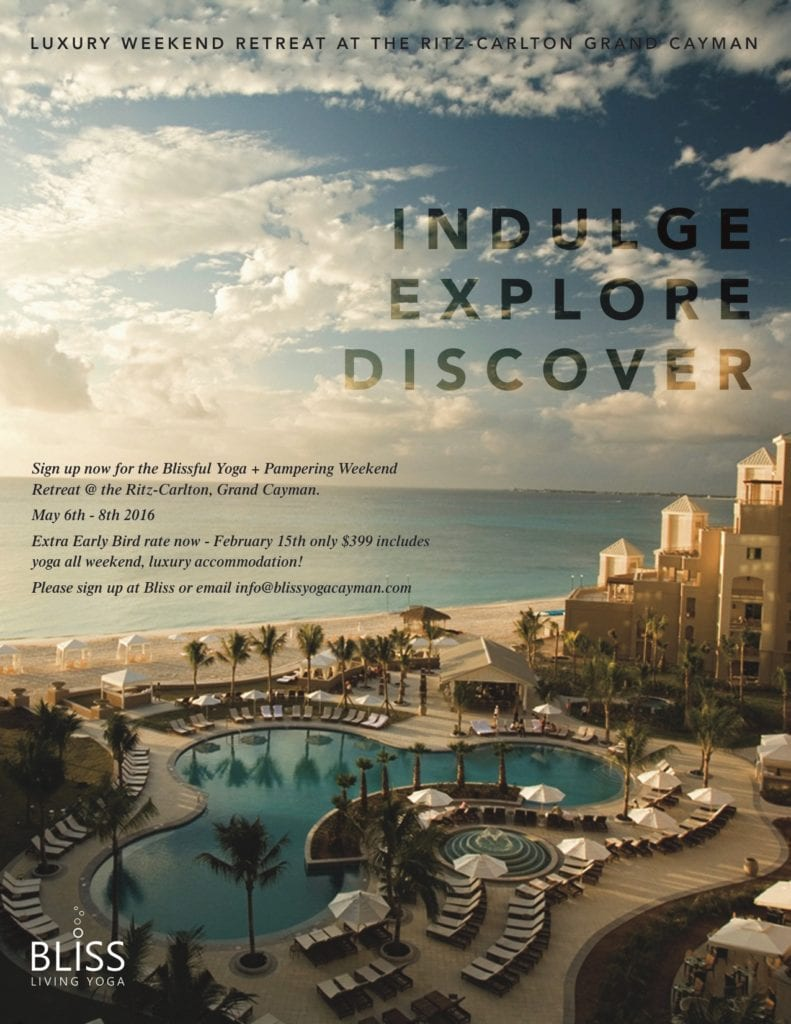 Indulge, Explore, Discover with Bliss Yoga May 6th-8th @ The Ritz-Carlton, Grand Cayman