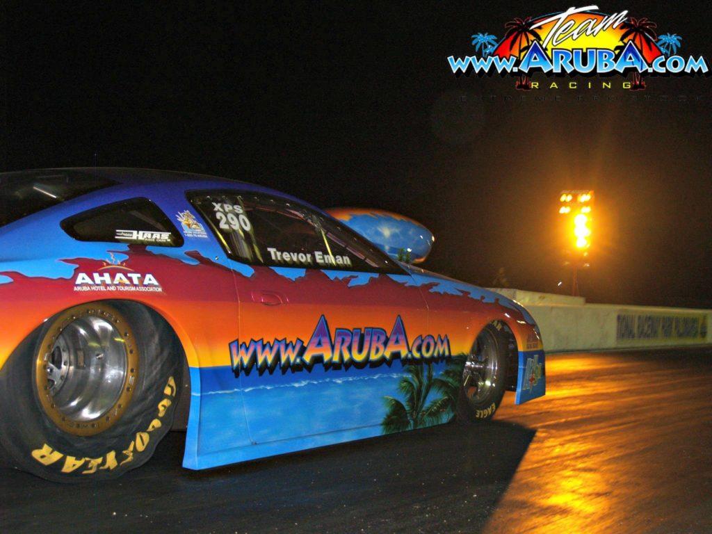 Team Aruba Celebrates - Aruba Mustang under the lights