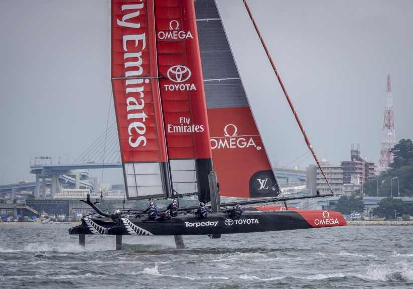 Emirates Team New Zealand sailing on the first race day at the Louis Vuitton America's Cup World Series Fukuoka, Japan